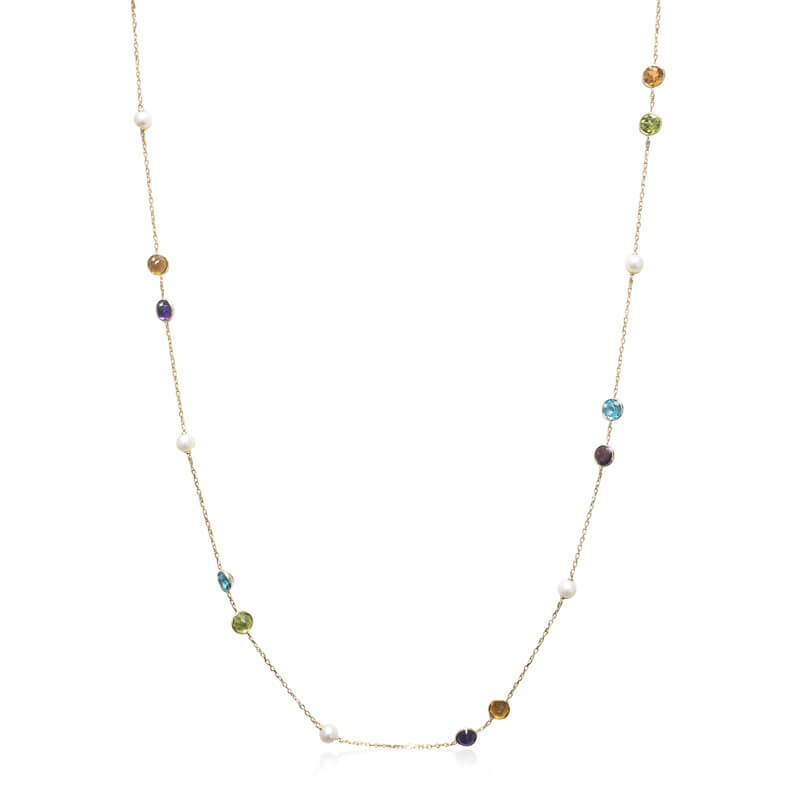 "36"" Colored Gemstone Necklace"