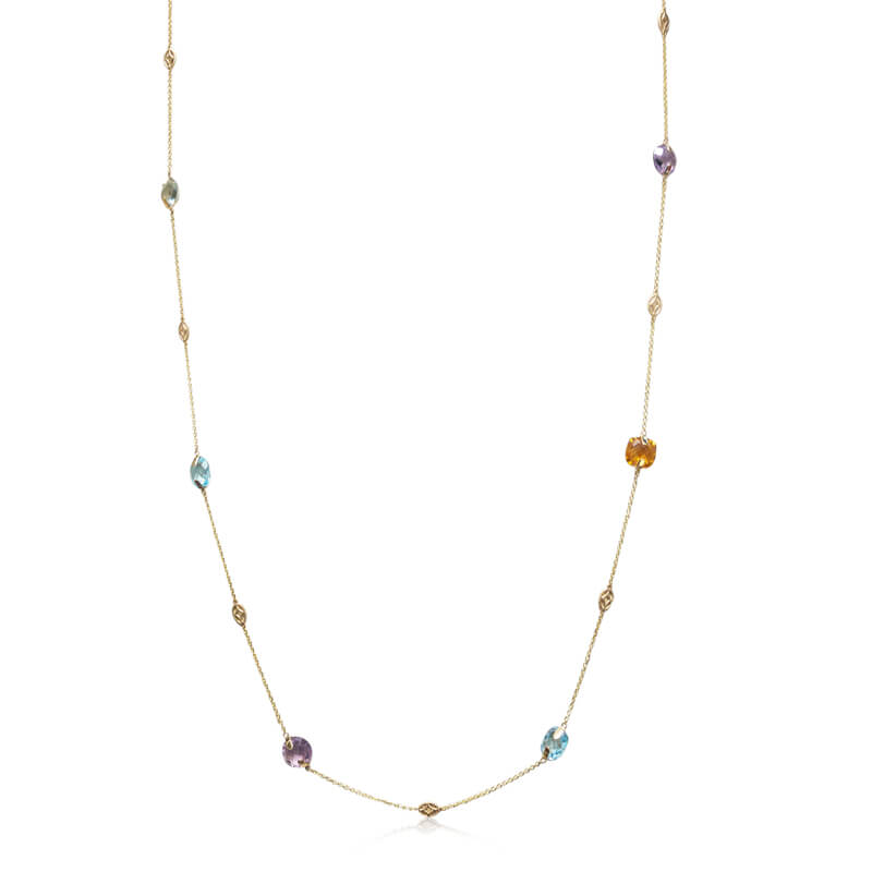 Multi-Station Colored Gemstone Necklace