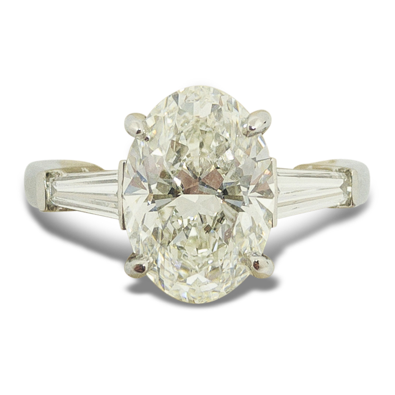 3.62ctw. Oval Three Diamond Ring