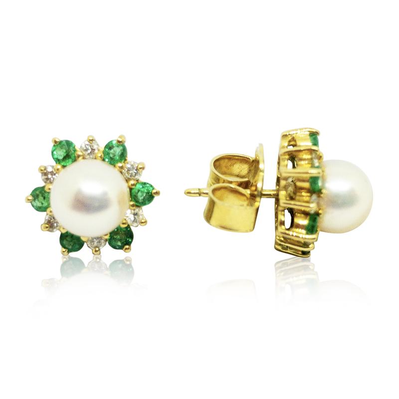 Pearl, Diamond & Emerald Earrings