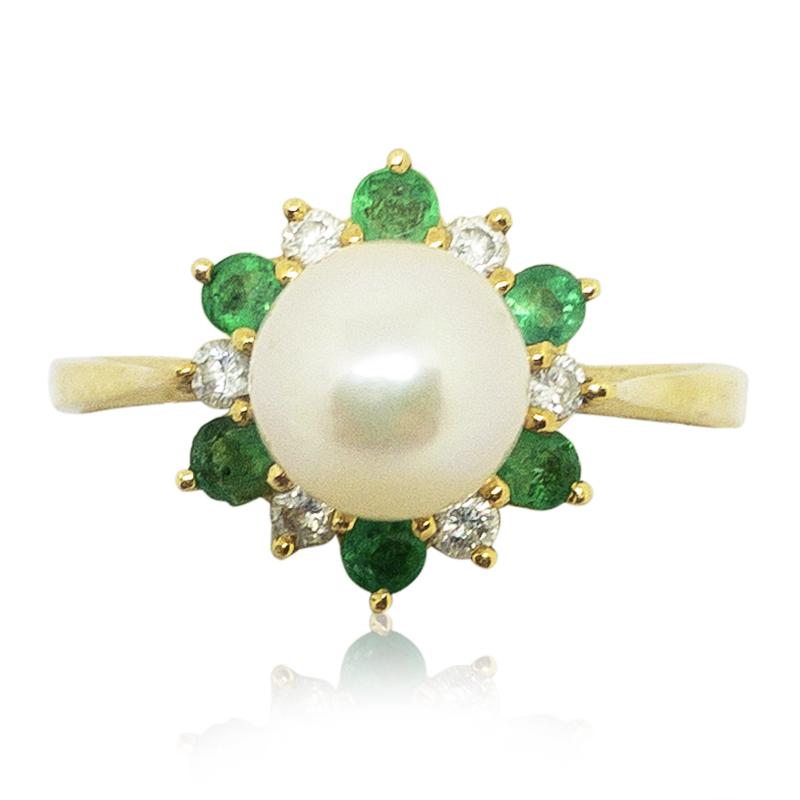 Pearl, Diamond & Emerald Ring