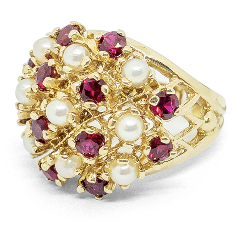 Pearl & Synthetic Ruby Cluster Ring