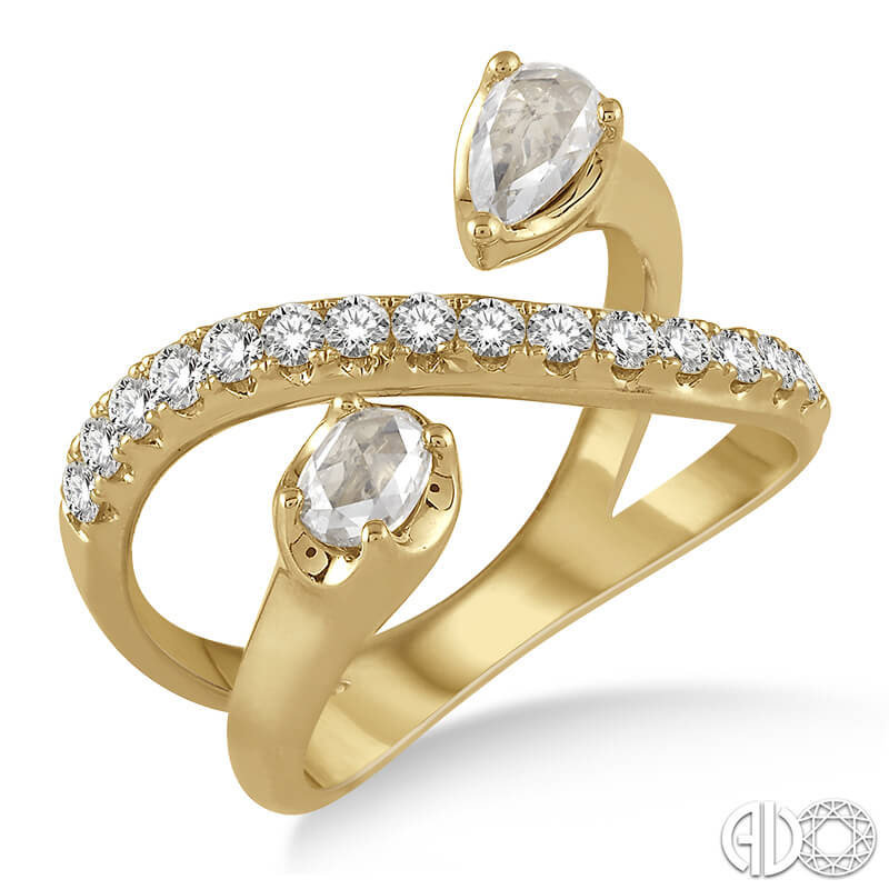 Rose Cut Bypass Ring