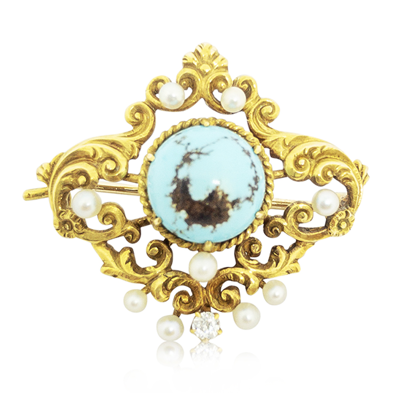 1920's Turquoise Brooch