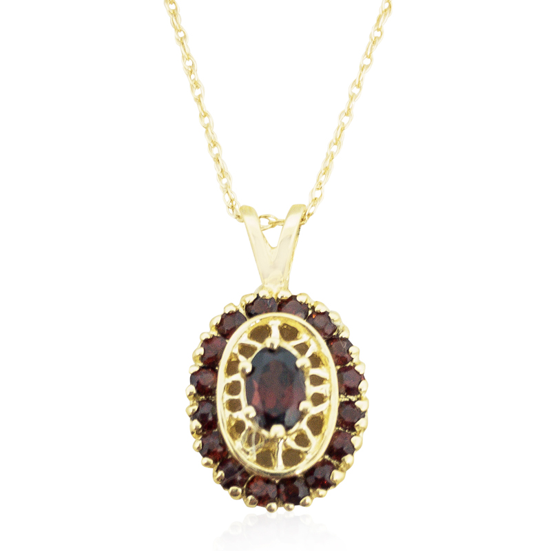 Oval Garnet Estate Pendant