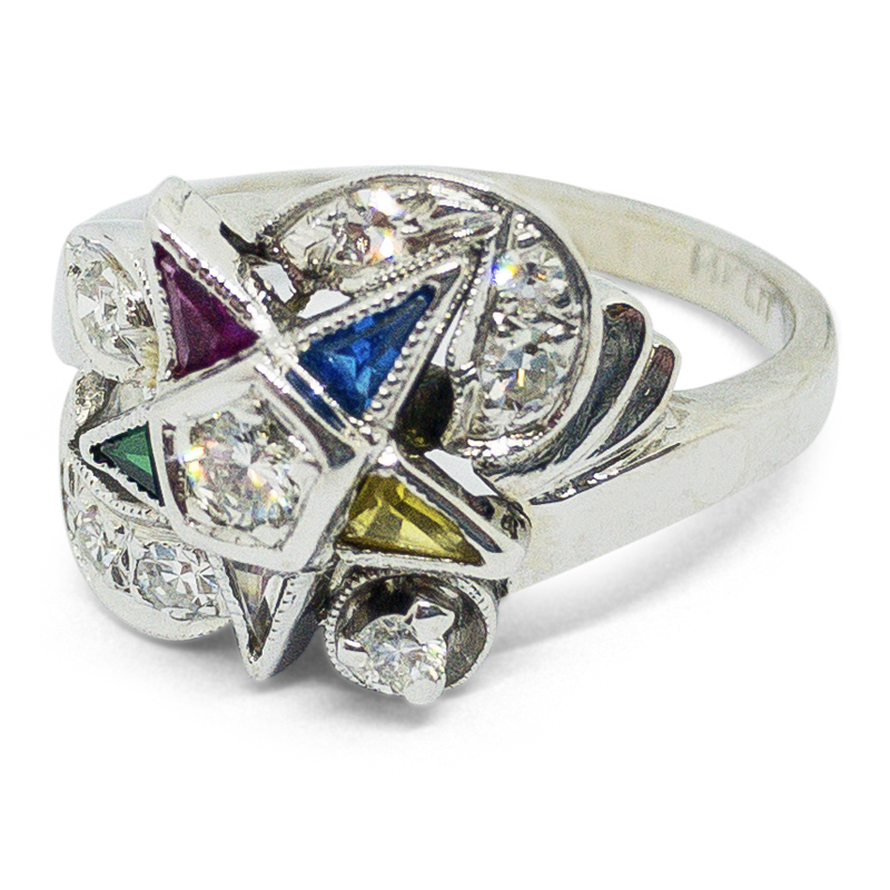 Rainbow Synthetic Sapphire Estate Ring