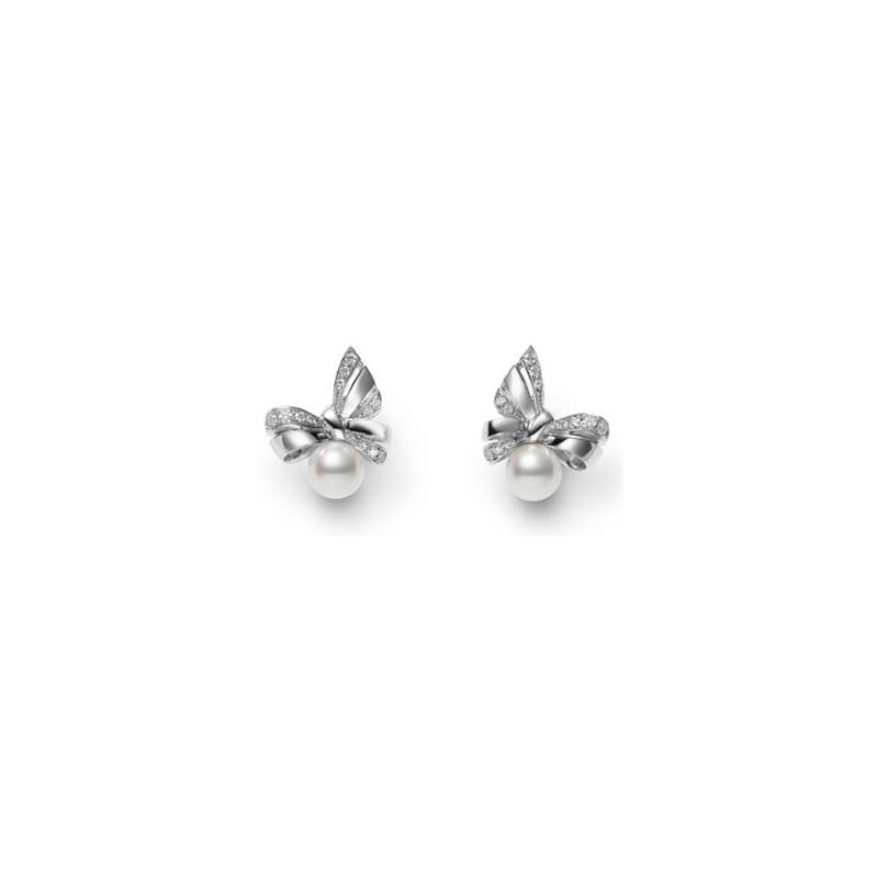 Ribbon Diamond & Pearl Earrings