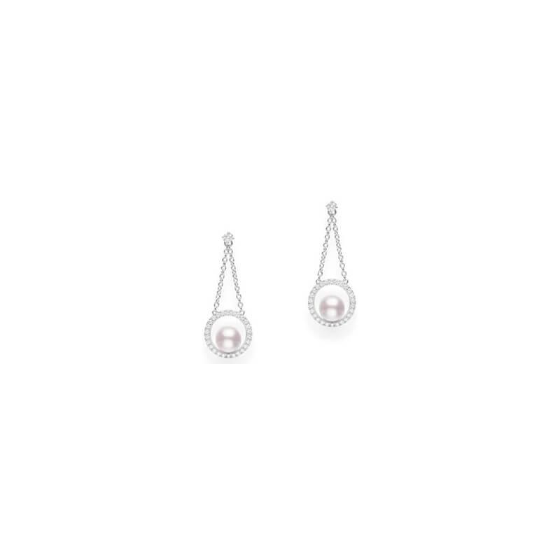 6mm Akoya & Diamond Drop Earrings