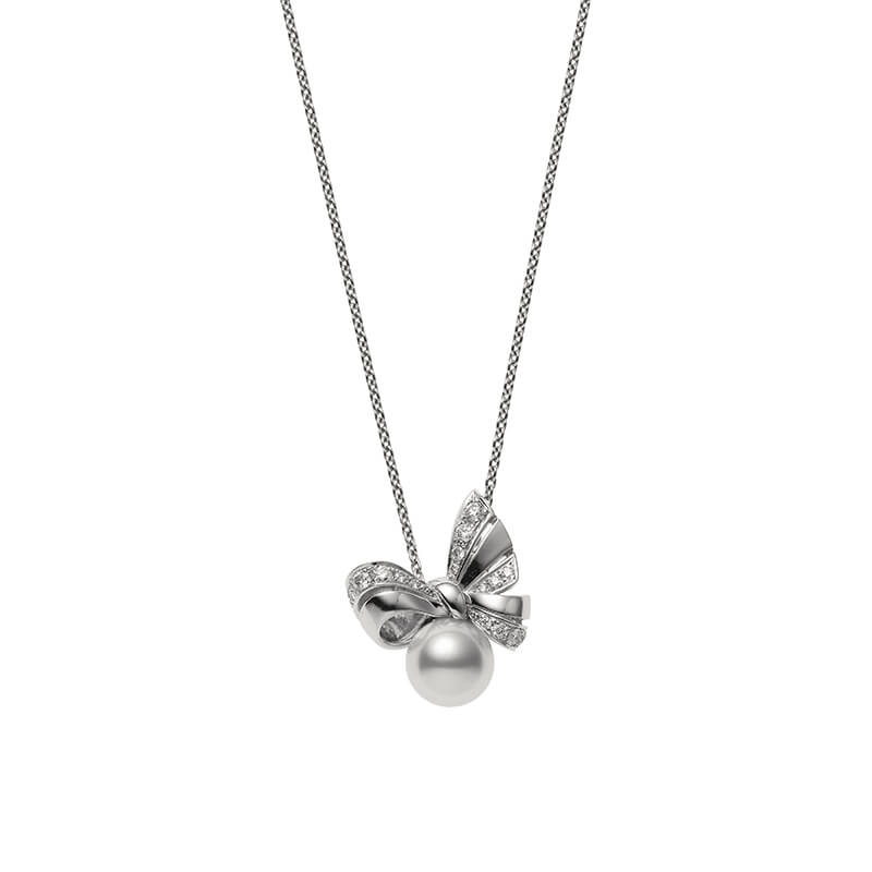 Ribbon Diamond & Pearl Pendant