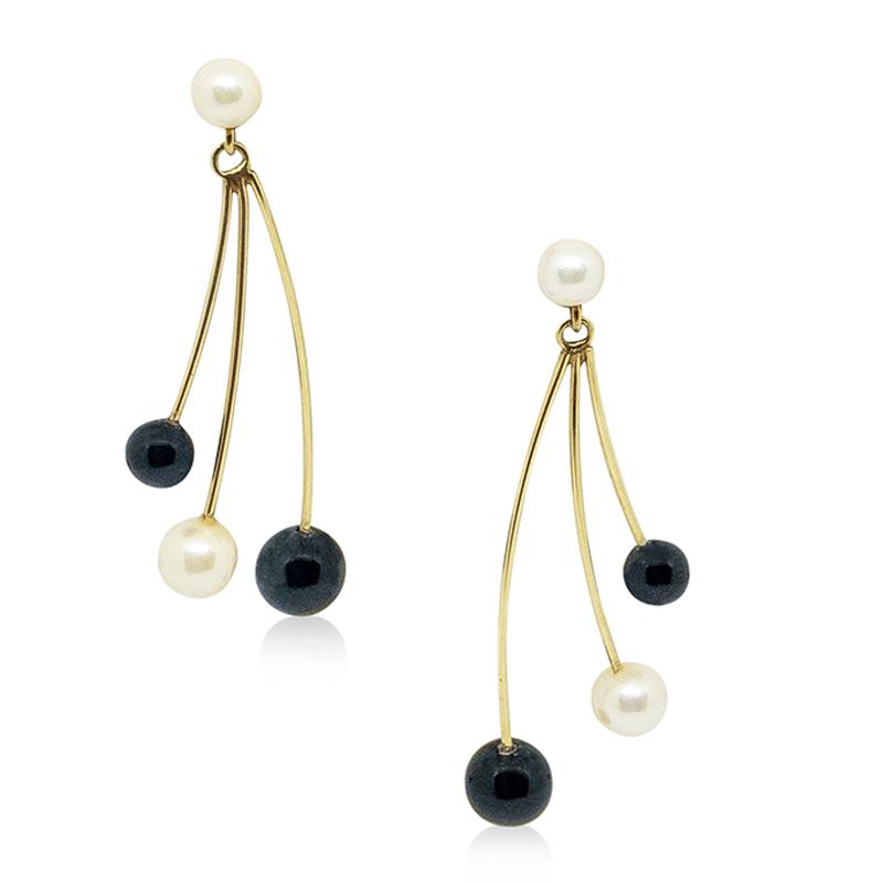 Black Onyx & Pearl Earrings