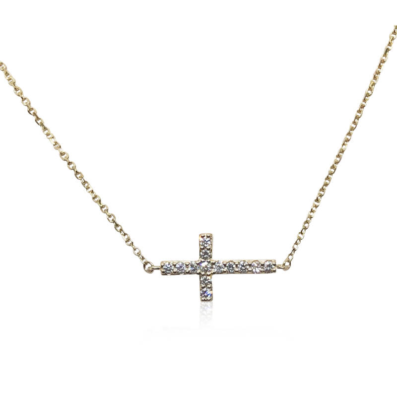 .32ct. Yellow Gold Sideways Cross Necklace