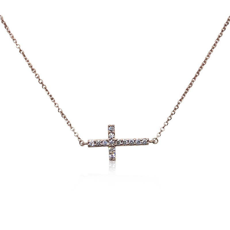 .32ct. Rose Gold Sideways Cross Necklace
