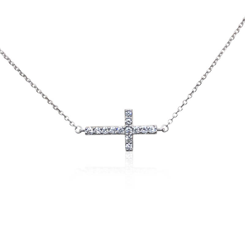 .32ct. White Gold Sideways Cross Necklace