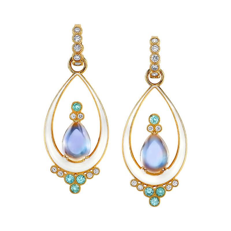 Moonstone Earrings with Paraiba