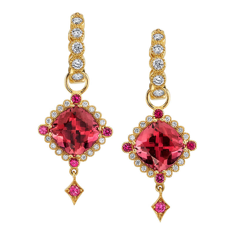 Pink Tourmaline Lily Pad Earrings