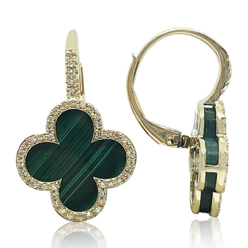 Malachite & Diamond Earrings