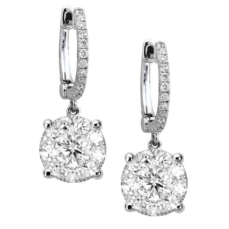 Huggie Drop Diamond Earrings- WG