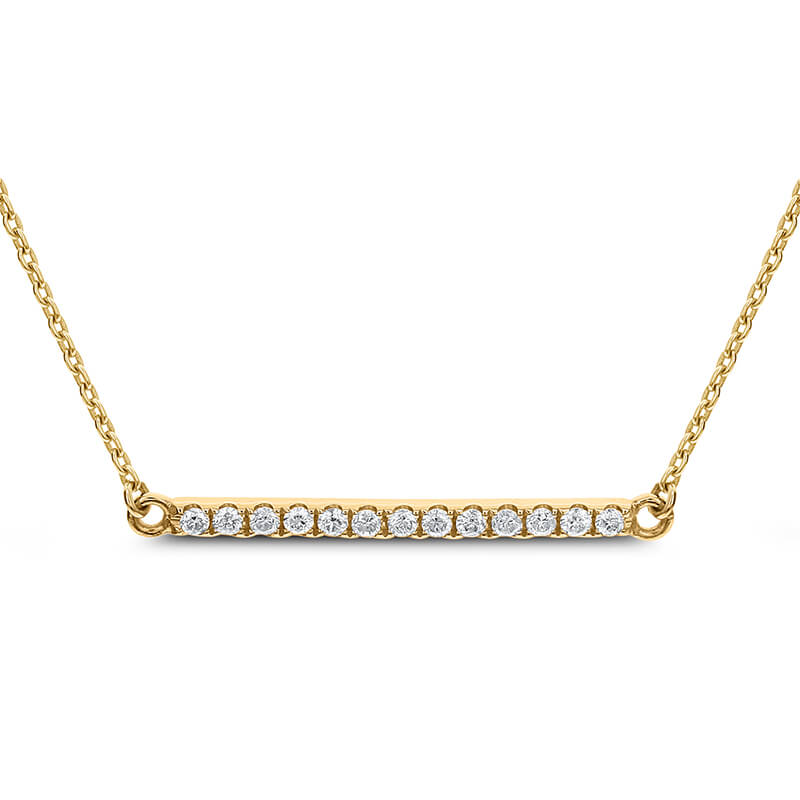 YG Diamond Bar Necklace