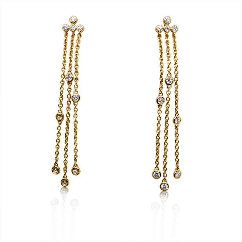 .32ct. YG Drop Chain Earrings