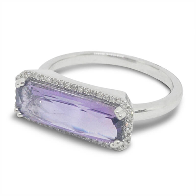 East-West Amethyst Ring