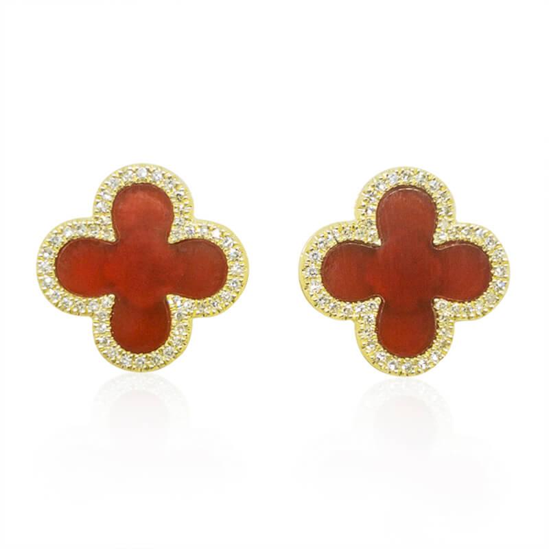 Red Onyx Stud Earrings with Diamonds