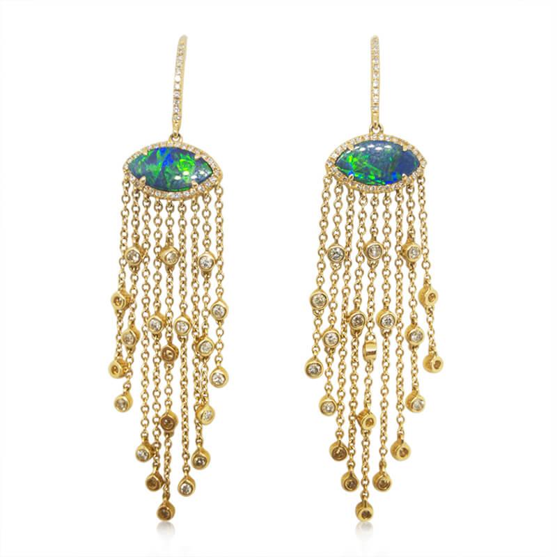 Black Opal Dangle Earrings