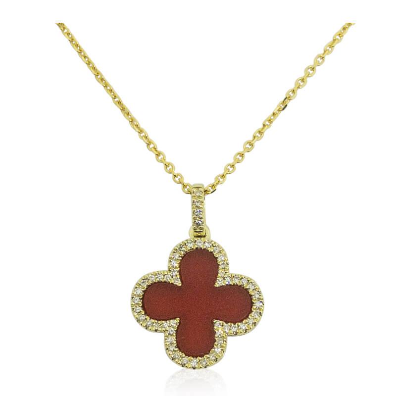 Red Onyx Pendant with Diamonds+R57