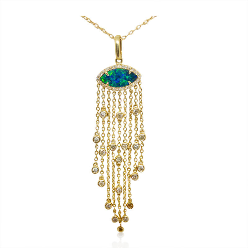 Black Opal Tassel Necklace