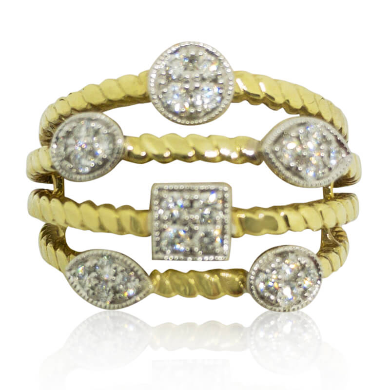 4 Row Diamond Station Ring