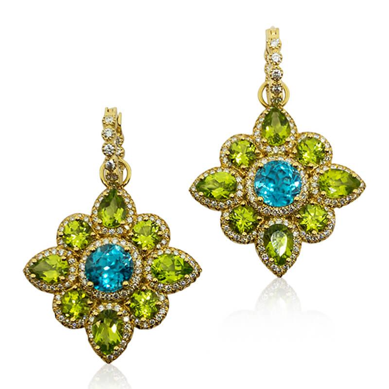 Mandala Zircon & Peridot Earrings