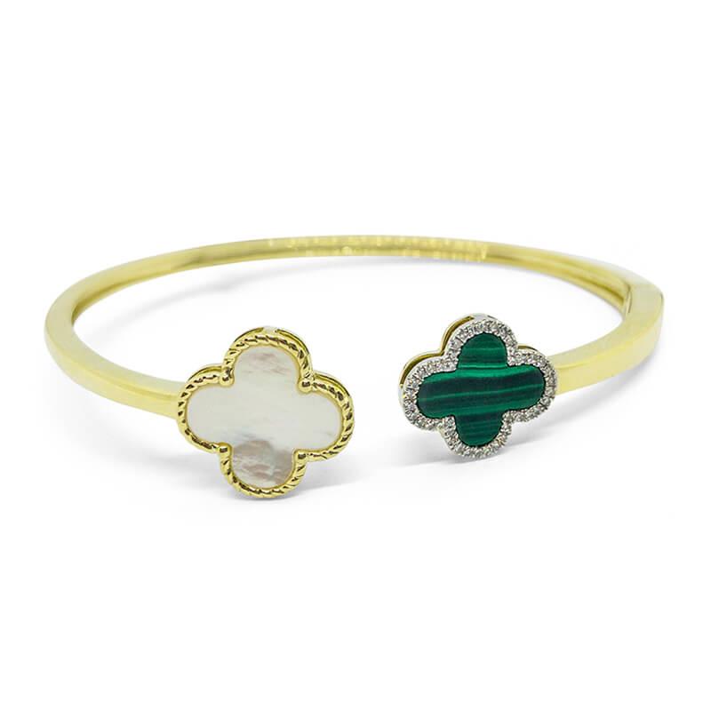 Clover Malachite Cuff Bracelet