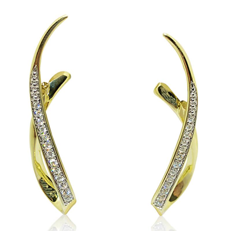 Ribbon Diamond Earrings- YG