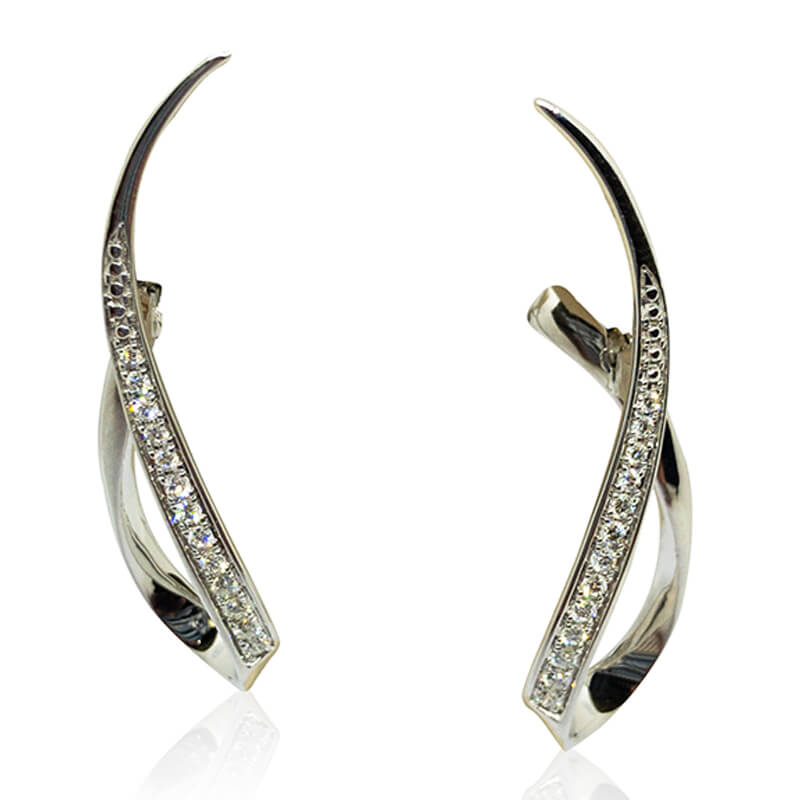 Ribbon Diamond Earrings- WG