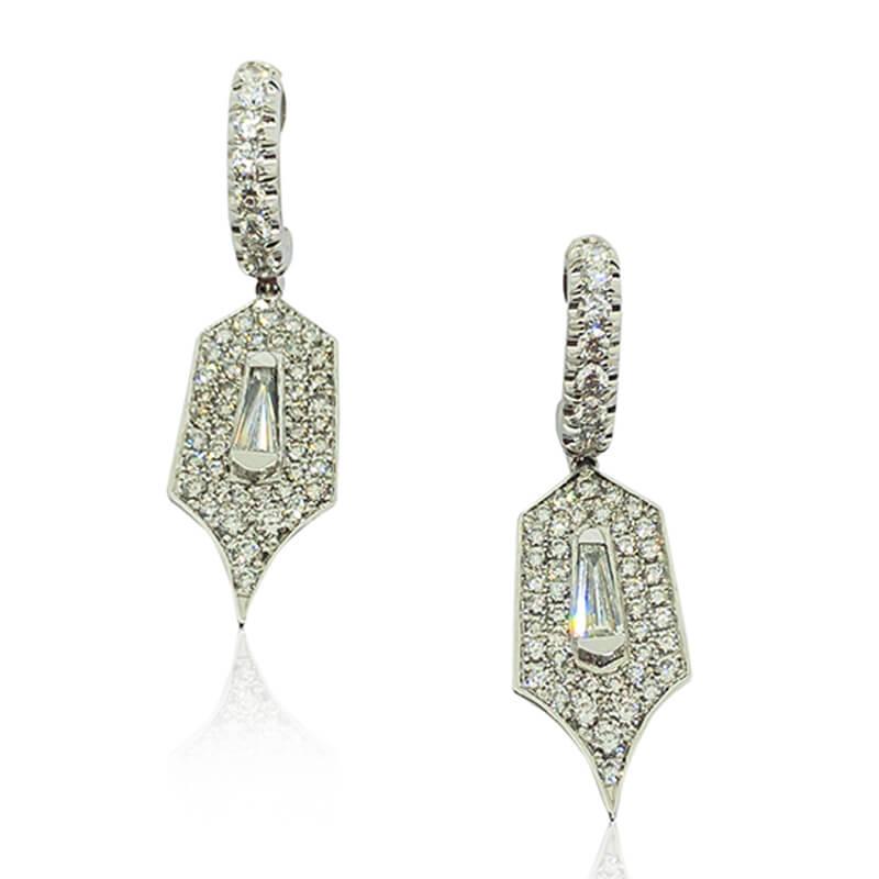 Diamond Shield Drop Earrings