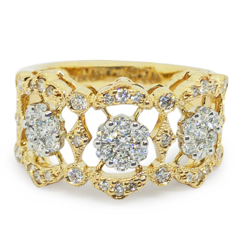 .72ctw. Floral Cut Out Ring