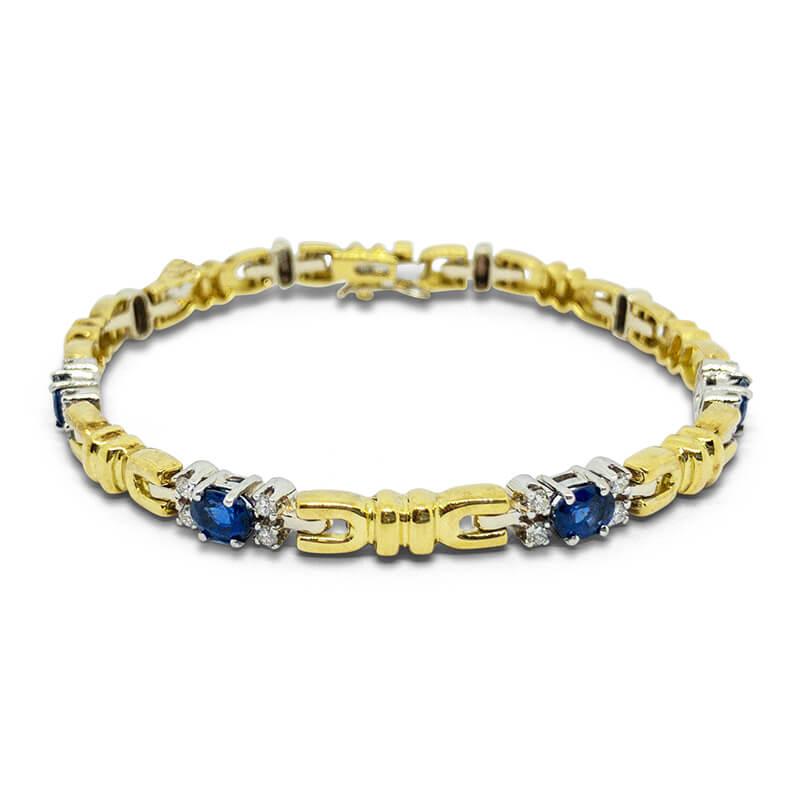 Diamond & Sapphire Two-Tone Bracelet