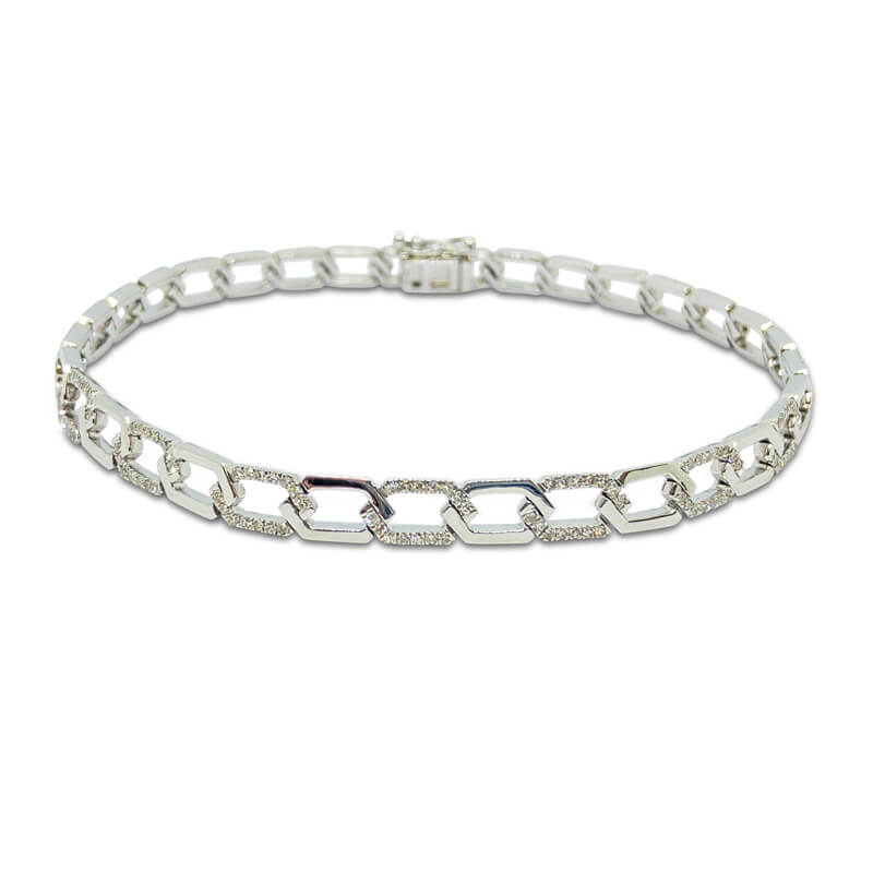 Hexagonal Link Diamond Bracelet