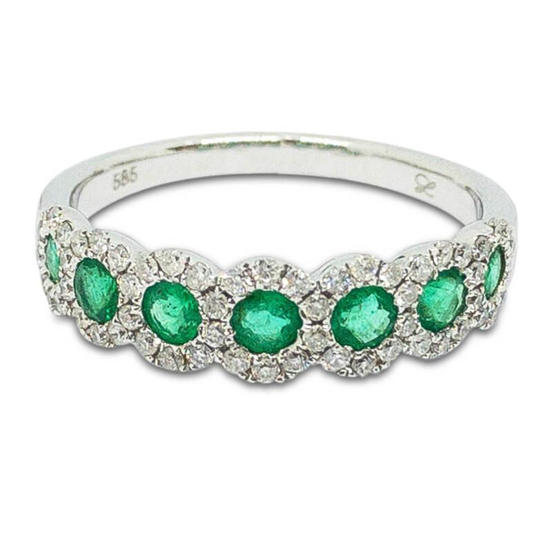 Emerald & Diamond Halo Band