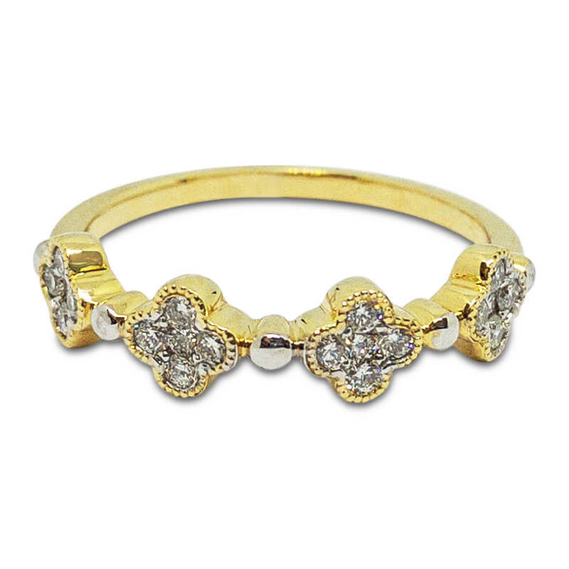 Quatrefoil Diamond Stacking Ring