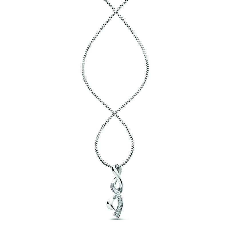 Sterling Silver Diamond Twist Pendant